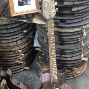Breast Cancer Tribute Bourbon Barrel Guitar
